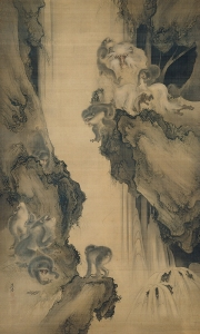Waterfall and Monkeys, Shibata Zeshin 1891